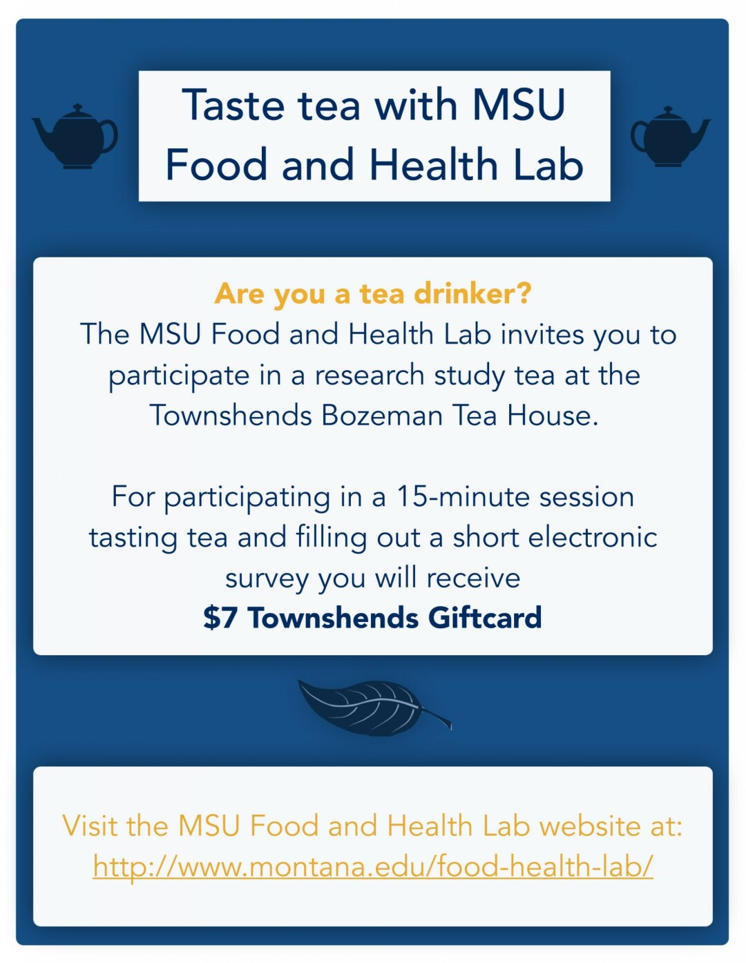 Tea Tasting Research with MSU Food and Health Lab -